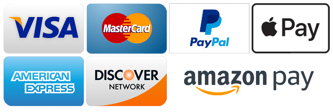Visa, Mastercard, American Express, Discover, PayPal, Apple Pay and Amazon Pay Accepted.