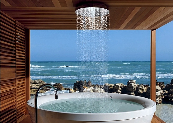 Whirlpool Jetted Tub with Waterfall Shower